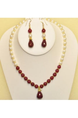 Pearl and Ruby Color Jade with Ruby Drop Necklace Set # PRJD