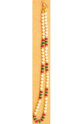 Pearl, Ruby, and Emerald Necklace Chain with Daisy Beads #PRE-1