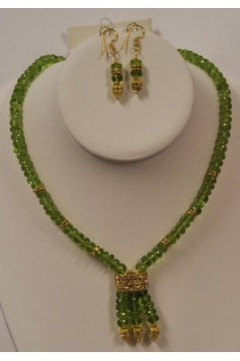 Peridot Roundel Single-Necklace with 3-String Pendant