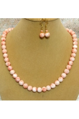 Natural Pink Italian Coral Necklace 9mm