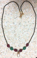 Cute Mangalsutra with Quartz Oval, Real Pearl, and 24kt gold plated Czech beads