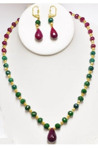 Ruby and Emerald Necklace Set with Ruby Drop Pendant #REND-2