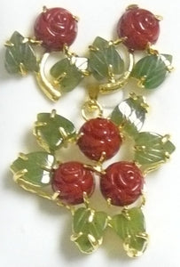 Red Coral Flat Flower and Jade Leaf Pendant Set #RF-6