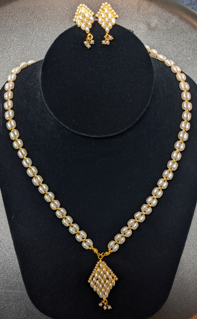 Rice Pearl 2 Strands Necklace Set with Gold Beads #RPSG