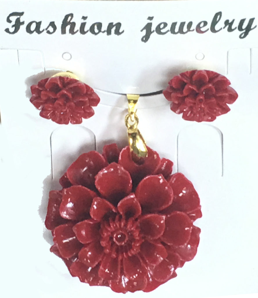 Red Resin Sunflower Pendant Set #RSF-2