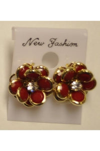 Red Rhodium Crystal 13mm Flower Earrings #CE-2