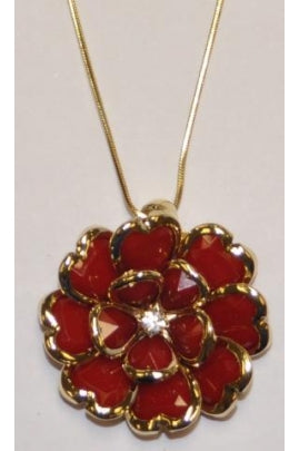 Red Rhodium Crystal Necklace #CN-2