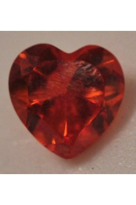 Red Heart-Shape Cubic Zirconia 10mm