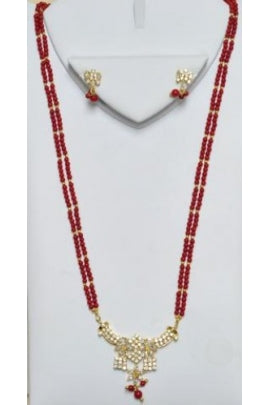Red Coral Necklace with CZ Pendant & Earrings Set