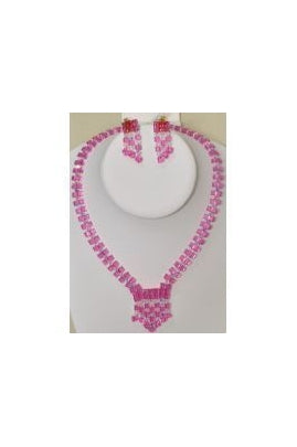 Rose-color Swarovski Cube Necklace Set