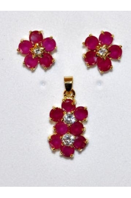 Ruby-Color Cubic Zirconia and White Cubic Zirconia Flower Shape Pendant and Earring Set RCF-1