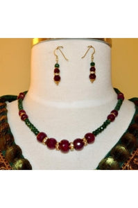Ruby and Emerald with Golden Color Roundels Necklace Set #REGR-1
