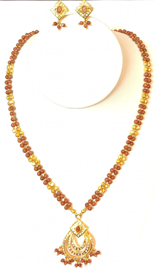 2-Strand Faceted Sandstone Necklace Set #FSS-1