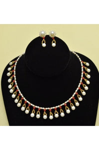 Side Drilled Pearl with Faceted Red Coral Necklace Set #SDPC-1