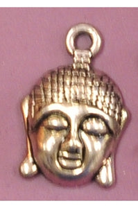 Silver-Color Indian-Style Buddha Head Charm (16mmx15mm) #SBC-1