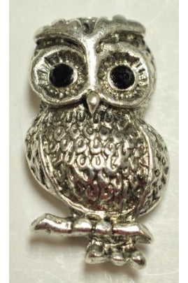 Silver-Color Sitting Owl Charm (31mmx17.3mm) #OWL-3