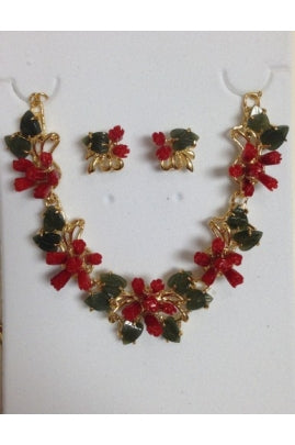 Red Coral Tulip and Jade Leaf Necklace Set #T01