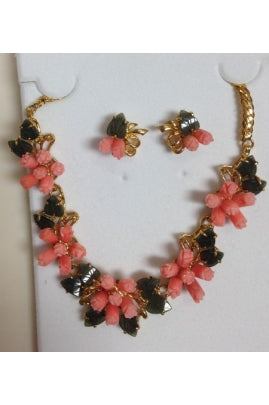 Pink Coral Tulip and Jade Leaf Necklace Set #T02