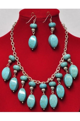 Twisted-Shape Turquoise Drop Necklace Set on Sterling Silver Chain