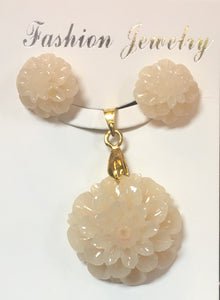 Cream-ish White Resin Sunflower Pendant Set #WSF-1