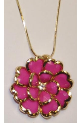 Hot Pink Rhodium Crystal Necklace #CN-1