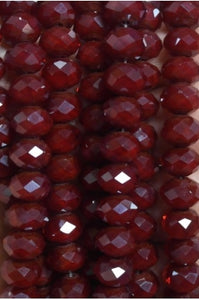 Dark Red Color Quartz Roundel 10mmx7mm