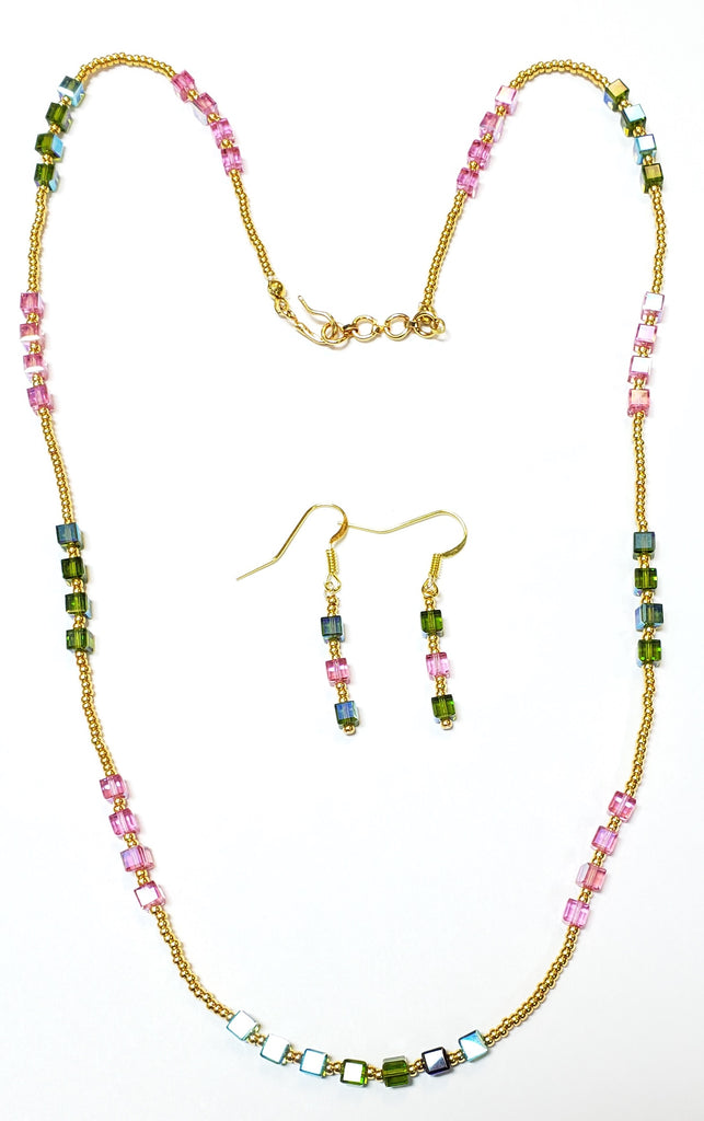 Multi-color Swarovski Cube Necklace Set with Gold-Plated Beads