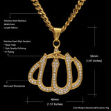NPGD045S - Iced Islamic Allah Necklace - Noirdesigner.com