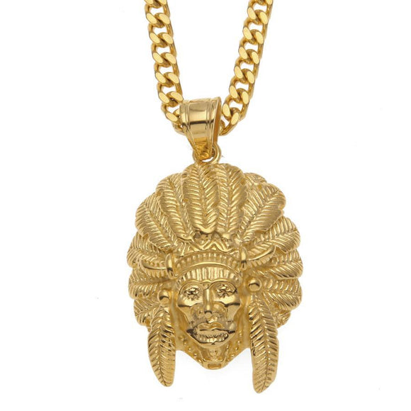 NPG042S - Cuban Indian Chief's Head Necklace