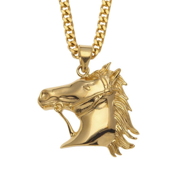 NPG074S - LIMITED EDITION Glamour Horse Head Necklace - SPECIAL DEAL 50% OFF PLUS FREE SHIPPING! - Noirdesigner.com