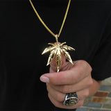 NPGS021C - Cuban Cannabis Leaves Necklace - Noirdesigner.com