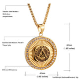 NPGD088S - Diamond Round Past Master Masonic Necklace - SPECIAL DEAL 50% OFF Plus FREE Shipping! - Noirdesigner.com