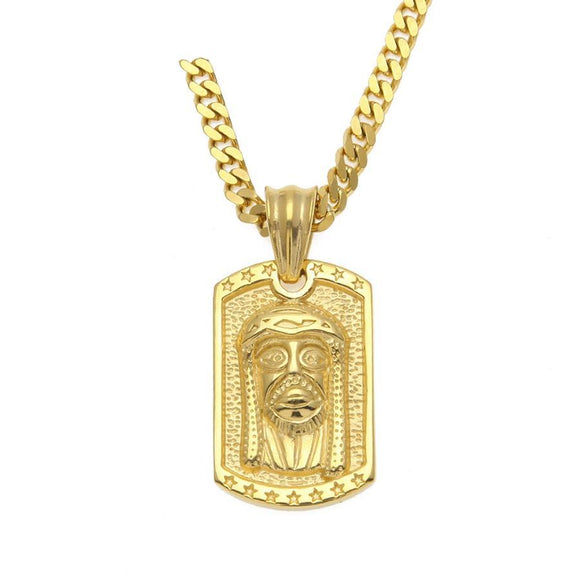 NPGS099S - Cuban Square Jesus Head Necklace - Noirdesigner.com