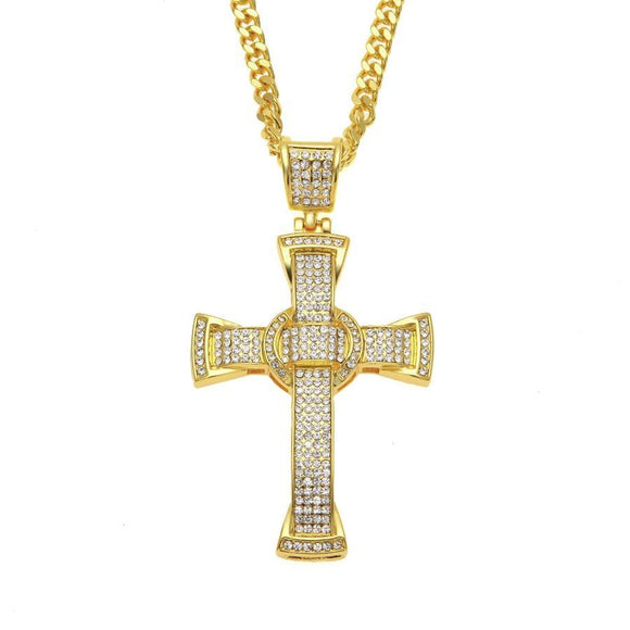 NPGSD023S - Iced Big Cross Necklace - SPECIAL DEAL 70% OFF Plus FREE Shipping!