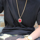 NPG084S - Iced Red Square Necklace