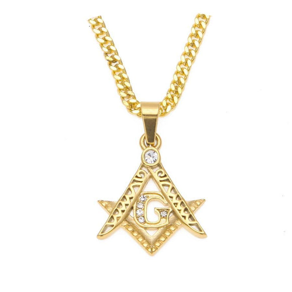 NPGD056S - Iced Masonic Symbol Necklace - SPECIAL DEAL 50% OFF Plus FREE Shipping!