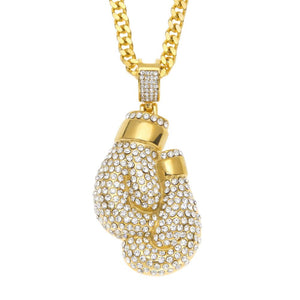 NPGD013S - Diamond Cuban Boxing Gloves Necklace - LIMITED EDITION SPECIAL DEAL 70% OFF Plus FREE Shipping! - Noirdesigner.com