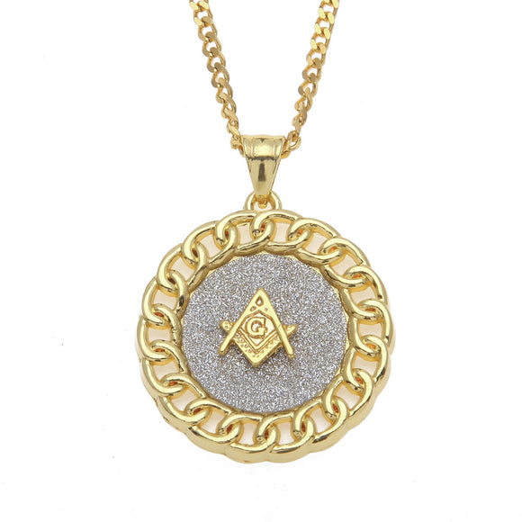 NPGSD054S - Diamond Masonic Round Badge Necklace  - LIMITED EDITION SPECIAL DEAL 70% OFF Plus FREE Shipping! - Noirdesigner.com