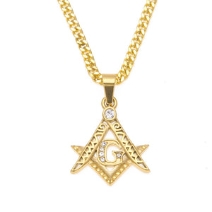 NPGD056S - Iced Masonic Symbol Necklace - SPECIAL DEAL 50% OFF Plus FREE Shipping! - Noirdesigner.com