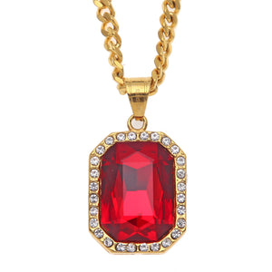 NPGD085S - Diamond Red Square Necklace - Noirdesigner.com