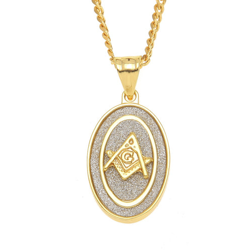 NPGSD064S - Diamond Oval Masonic Necklace LIMITED EDITION SPECIAL DEAL 70% OFF Plus FREE Shipping! - Noirdesigner.com