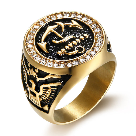 RG0011 - Vintage Eagle Black Anchor Ring - Noirdesigner.com