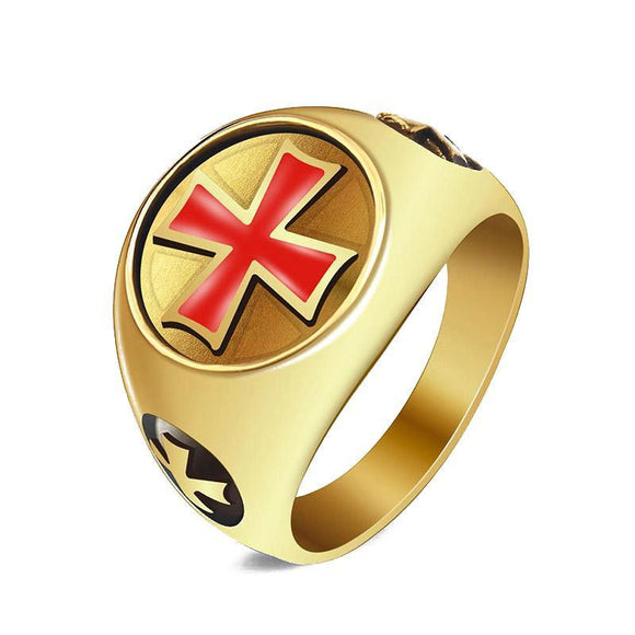 RG0010 - Red Knights Templar Cross Ring  - LIMITED TIME INTRODUCTORY GIVEAWAY (FREE ITEM) - Noirdesigner.com