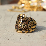 RG002 - Antiqued Mason Ring - Noirdesigner.com