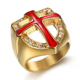 RG008 - Red Crusaders Cross Ring - LIMITED TIME INTRODUCTORY GIVEAWAY (FREE ITEM) - Noirdesigner.com