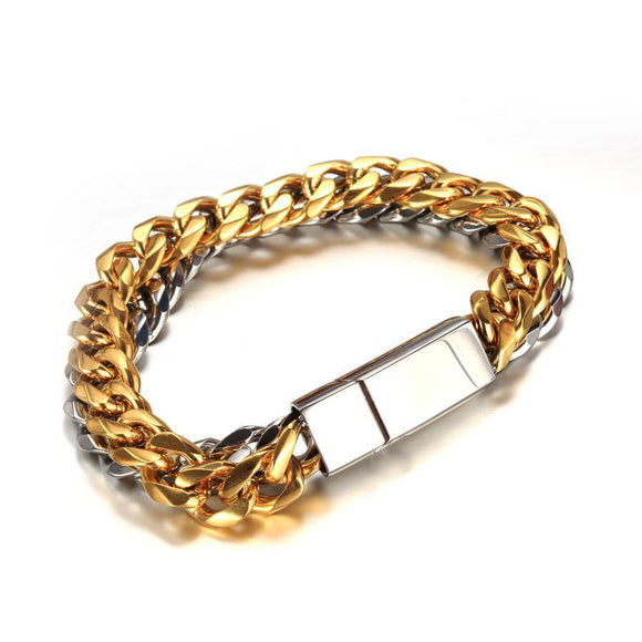 BGS02S - Mix Hollow Cuban Bracelet - Noirdesigner.com