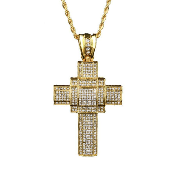 NPGSD020C - Iced Triple Box Cross Necklace - Noirdesigner.com
