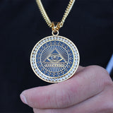 NPGSD055S - Iced Masonic God Eye Necklace