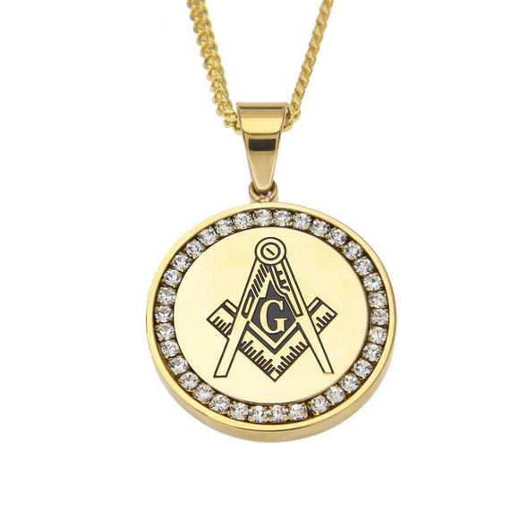 NPGD089S - Cuban Iced Round Masonic Necklace - SPECIAL DEAL 50% OFF Plus FREE Shipping!