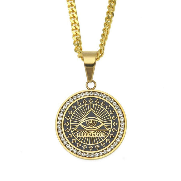 NPGSD055S - Iced Masonic  Eye Necklace  - LIMITED EDITION SPECIAL DEAL 70% OFF Plus FREE Shipping! - Noirdesigner.com